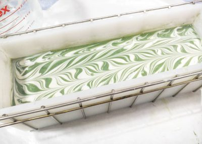 Cucumber & Grass soap in the mold.